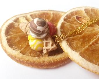 Ice Cream Pendant ( triple scoop ice cream necklace polymer clay food miniature food food necklace mini food jewelry food jewelry )
