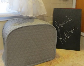 Steel Gray Fabric Toaster Cover 2 Slice Small Appliance Covers Quilted Dust Cloth Covers Made to Order