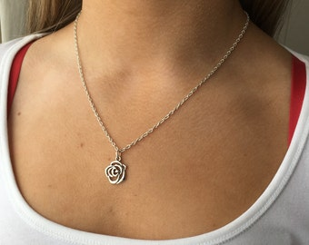 Silver Rose Necklace - Silver Plated Necklace with Lovely Rose Pendant