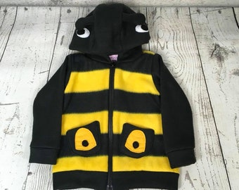 2T-3T Bee Fleece Toddler Sweatshirt, Hooded Bumble Bee Sweatshirt, Toddler Bumble Bee Hoodie, 3T Bee Sweatshirt, 2T Bumblebee Sweatshirt