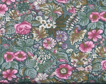 Pink, Green and Ivory Floral on Dark Green 100% Cotton Calico Fabric for Sale from Marshall Dry Goods, MDGCountry-010Green