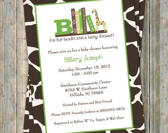 Animal Print Baby Shower Invite, book shower invitation, printable, digital file