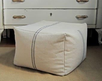 Square pouf cover, 20x20x15, large foot stool, grain sack pouf, cottage chic ottoman, shabby chic floor pillow, farmhouse pouf ottoman