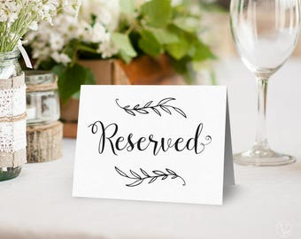 Wedding Reserved Sign, Printable Reserved Sign, Wedding Reception Sign, Tent Style, VW01