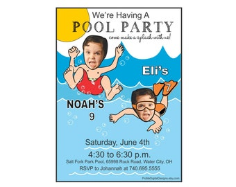Twins Custom Pool Party Birthday Invitation, Custom Photo Pool Party Invitation, Pool Birthday Invitation, Custom Pool Party Birthday