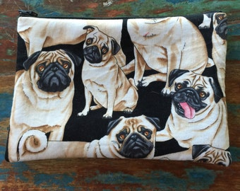 SALE medium zipper pouch pugs have my heart