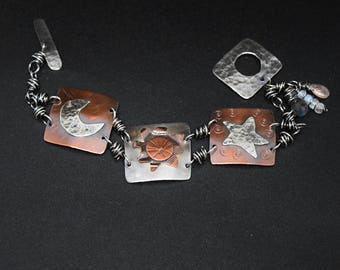 Moon Sun Star Bracelet in Mixed Metals Sterling Silver and Copper, Sunstone, Labradorite and Moonstone