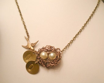 Bird Nest Necklace Gift for Wife Personalized Bird nest 2 Pearl Nest with Engraved Initials Bird Mom Sister Family Nest Jewelry