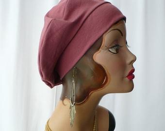 Marsala Cotton Jersey Beret, Chemo Hat