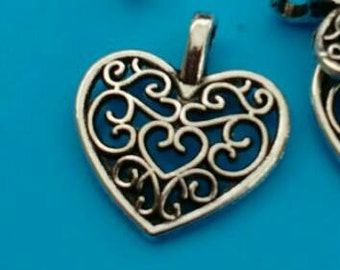5x silver heart pendants filigree charms abstract hollow findings 14.5mmx16.5mm jewellery making diy jewelry necklace supply UK