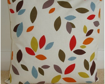 """18x18 Pillow Cover Orange Red Mustard Blue Brown Green Leaves 18"""" Cushion Slip Sham Case Pillowcase 18""""x18"""" Square Accent New"""