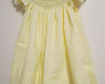 Hand Smocked Bishop Dress, Size 12 months
