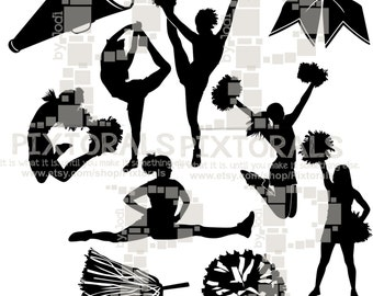 10 Cheerleading Silhouettes. Line Art, EPS file, Vector, jpeg, png, pdf, Cheerleading Clipart, Cheer Vector