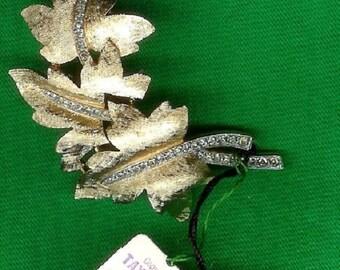 Rare 1950's Trifari Crown Rhinestone Leaf Brooch - As New