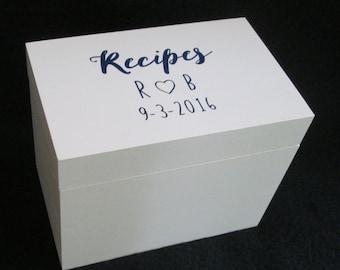 Personalized Recipe Box, Custom Recipe Box, Wooden Recipe Box, Recipe Storage Box, 4X6 or 5X7 Recipe Box, Shower Gift, Wedding Gift