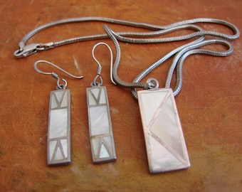 Vintage Sterling Silver and Mother of Pearl Art Deco Necklace and Dangle Earrings Set, Hallmarked 925, Sterling Snake Chain