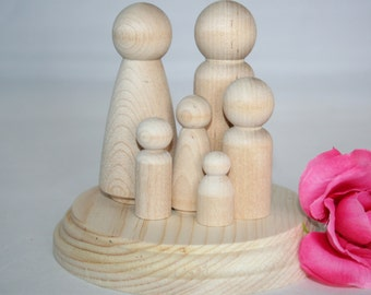 Wood Cake Toppers, Wooden Peg Dolls, Wood Bride and Groom, Cake Topper People, Rustic Wedding Cake, Family Cake Topper
