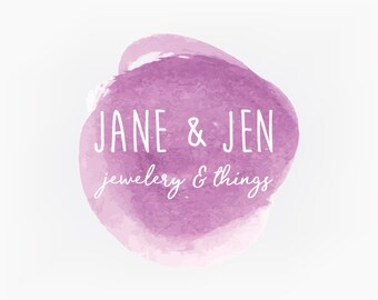 Premade Logo Design - Purple Watercolor Circle Logo - Branding Graphic Design