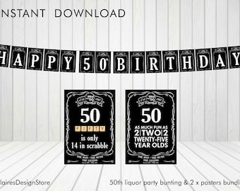 50th Liquor Party Bunting and Posters *Instant Download*