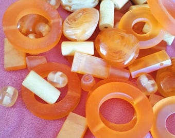 Orange IS the new black, A mix of  Handmade RESIN Beads