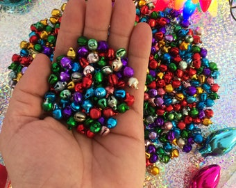 Christmas Jingle Bells, Multi-Color Tiny Bells, 9x8mm, 25 pcs / Juju Bells, Magical Supplies, Jingle Bell Charms, Christmas Decor, Supplies