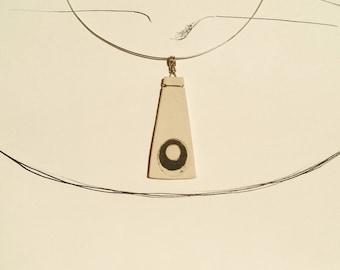 Large Natural White Ceramic Pendant with Black Circle (P06)