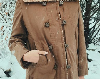 1950's faux shearling lined jacket by David Brooks for Main Street S/M