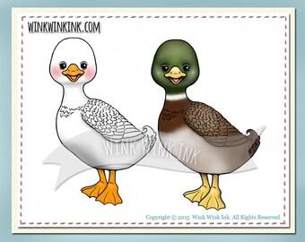 Digital stamp - Quackers - cute duck or goose printable digi image