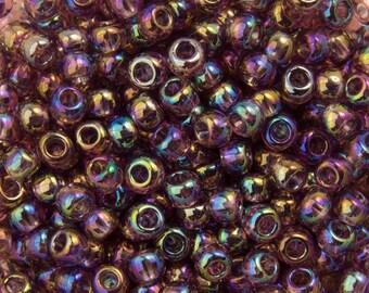 """Transparent Rainbow Medium Amethyst Toho Seed Bead 11/0 2.5"""" Tube TR-11-166B/C"""