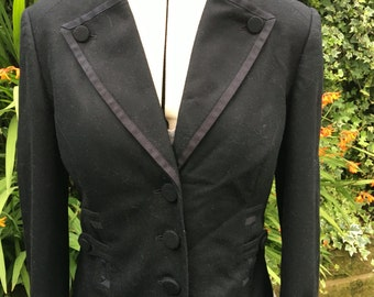 Vintage Wool Jacket, Gothic Black Jacket, Victorian, Steampunk,  Tailored Jacket