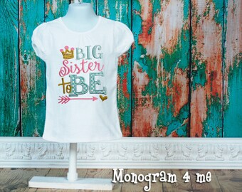 Big Sister Announcement shirt, New baby, Big Sister to Be, Sibling shirt