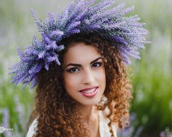 Lavender flower crown rustic wedding bridal headpiece woodland floral crown purple wreath boho wedding halloween costume large headband halo