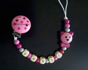 Pink Teddy bear pacifier clip