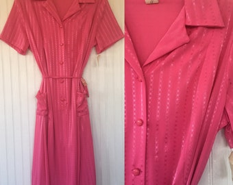 Vintage NWT 70s Bright Pink Sheer Dress Size Large L XL - Deadstock 1979 80s Spring Summer Festival
