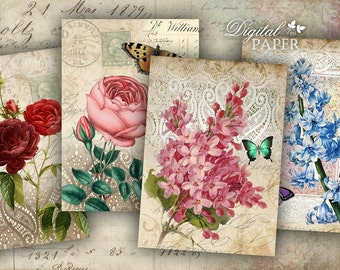Lace Post Card - digital collage sheet - set of 6 - Printable Download
