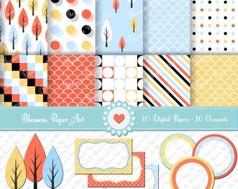 Digital Paper Pack Pines Clipart, Digital Paper, Light Blue, Yellow, Peach, Scrapbooking Paper Pack - INSTANT DOWNLOAD -1347