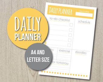 Daily Organizer Printable. Day planner, neat yellow and grey design, two sizes included (A4 and Letter), space for lists and doodles