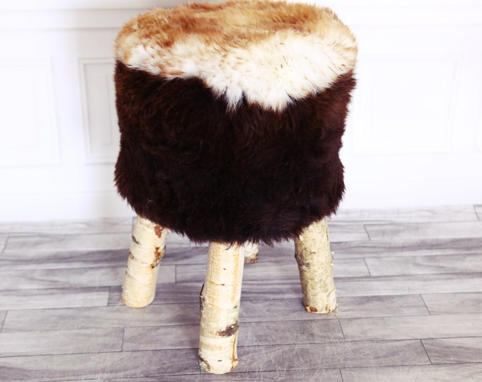 Wood Stool | Fur Stool | Sheepskin pouf | Sheepskin stool | Vanity Stool | Birch tree stool | Brown stool