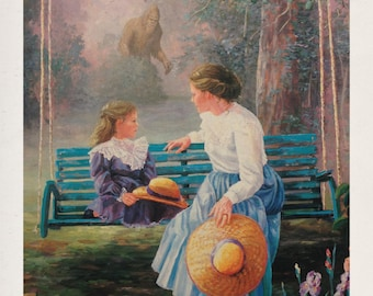 "11"" by 14"" ""Mother, Daughter...and Sasquach"" Altered Thrift Store Art Print"