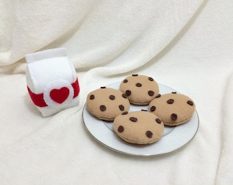 Felt Milk and Cookies, Felt Food, Play Food, Milk Carton and Chocolate Chip Cookies,