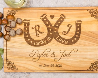 Couple cutting board, Lucky in love wood cutting board, custom cutting board, crafts gifts, wedding gift for couple