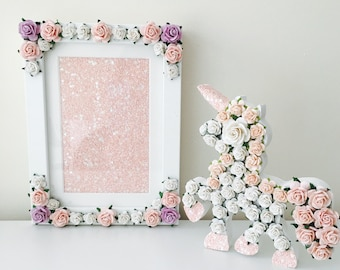 flower frame and unicorn gift //flower letter // christening gift // baby shower gift // girls nursery decor //unicorn gift // girls room