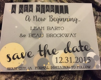 Party Invitation with Confetti - Transparent - Save the Date