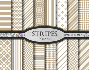 Khaki Striped Digital Paper Pack - Beige Scrapbook Paper - Buff Tone Neutrals