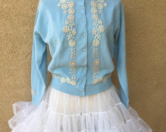 Vintage 1950s 1960s New old stock sweater cardigan beaded baby blue wool jacket size S M