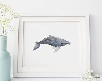 Whale Art, Watercolor Whale, Nautical Art Print, Nautical Decor, Whale Artwork, Whale Painting, Humpback Art Print, Humpback Wall Art