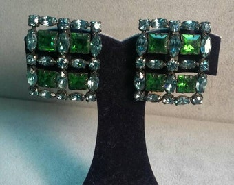 Vintage Schreniner Earrings 1940s Green Blue Rhinestone Sparkle Beauty