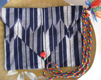 Indigo Ikat Japanese Arrow Lingerie Case - Kasuri Chevron Arrows - Blue Envelope Clutch Purse Bag