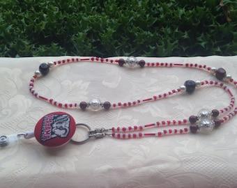 Alabama Beaded Lanyard Crimson Tide ID Badge Holder