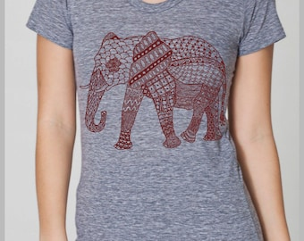 Women's Tribal Tapestry Elephant T Shirt Vintage Boho American Apparel Tee S, M, L, XL  8 COLORS Full Spectrum Apparel